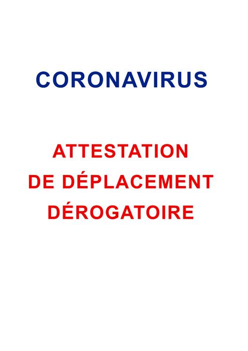 ATTESTATION DE DEPLACEMENT DEROGATION