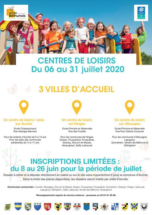 CENTRE DE LOISIRS ET CENTRE ADOS JUILLET 2020