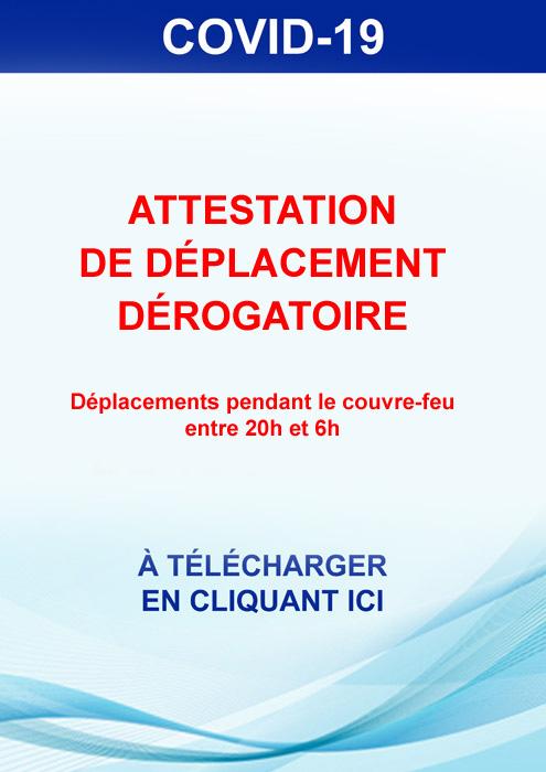 ATTESTATION DEROGATOIRE DE DEPLACEMENT ENTRE 20H ET 6H