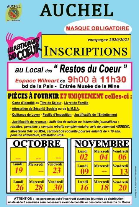 RESTOS DU COEUR : INSCRIPTIONS