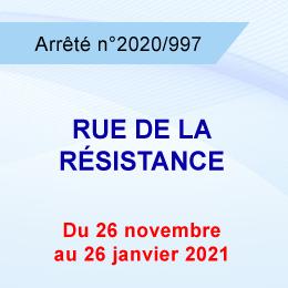 RESTRICTION DE CIRCULATION RUE DE LA RESISTANCE