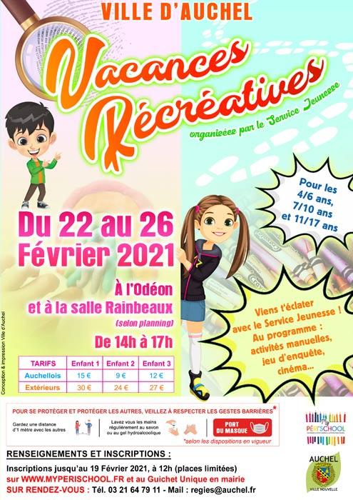 VACANCES RECREATIVES DU 22 AU 26 FEVRIER 2021