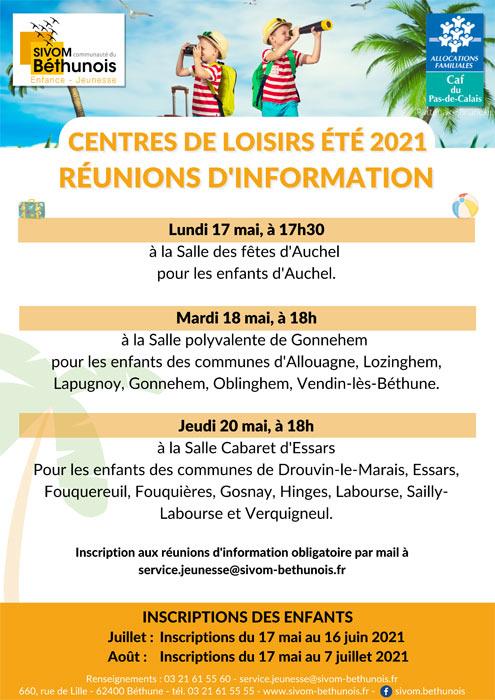REUNION D'INFORMATION POUR LES CENTRES DE LOISIRS