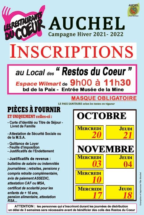RESTOS DU COEUR INSCRIPTIONS CAMPAGNE D'HIVER